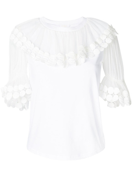 Chloe top sheer women white cotton silk