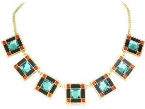 "Amazon.com: kate spade new york ""levitt squares"" multi turquoise short necklace: jewelry"