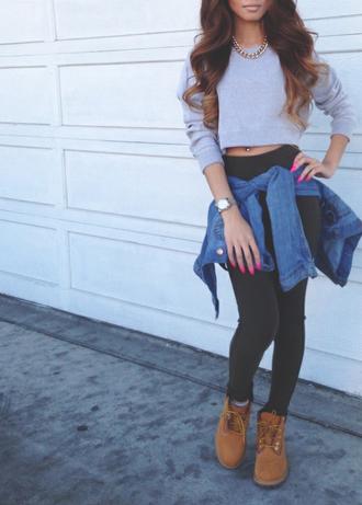 sweater jacket school girl shoes crop tops sweatshirt grey