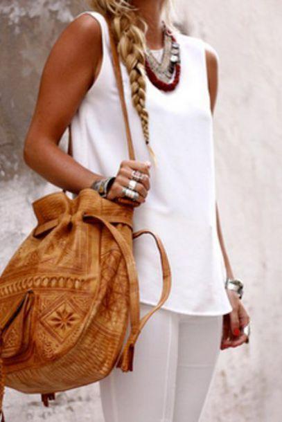 blouse pants shoulder bag leather purse bag brown bag morroco boho purse leather purse cute moroccan t-shirt leather bag light caramel brown color
