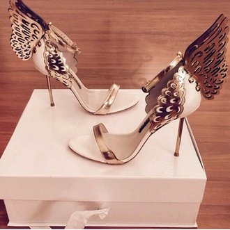 wings gold cream heels high heels butterflies butterfly gold pink shoes shoes style white high heels