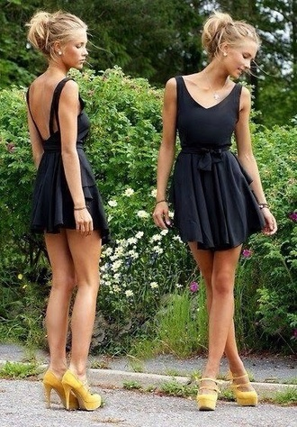 dress yellow black summer shoes lovely