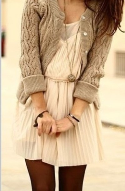 Lijepe haljine - Page 11 Ks1dpa-l-610x610-dress-cream-mesh-ruffle-pleated-cardigan-tan-button-long-necklace-fall-sweater