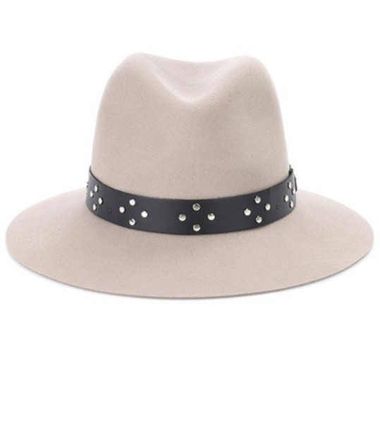 Rag & Bone Leather-trimmed wool hat in neutrals