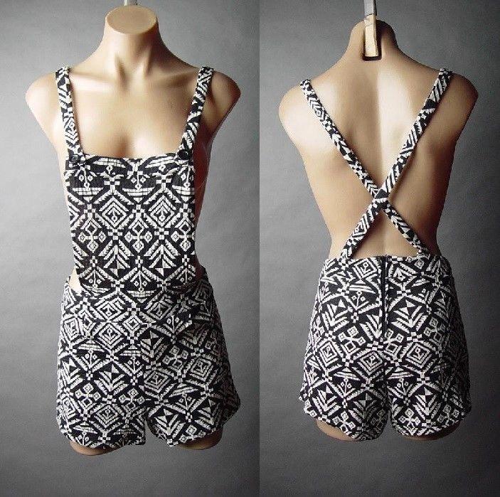 Black white tribal pattern suspender shorts jumper overall 46 ac shortalls s/m