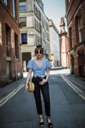 top,tumblr,blue top,stripes,striped top,wrap top,denim,jeans,black jeans,sandals,black sandals,bag,sunglasses,shoes