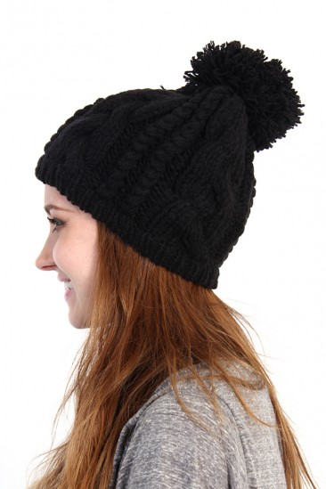 LoveMelrose.com From Harry & Molly | POM POM KNIT BEANIE - BLACK