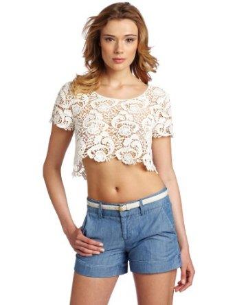 Amazon.com: testament women's short sleeve crop scallop lace top, white, medium/large: clothing