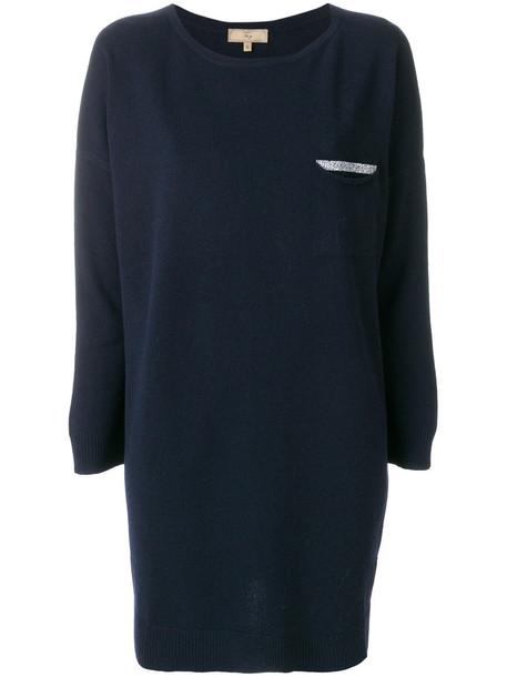 Fay - long sleeved loose fit top - women - Viscose/Cashmere/Virgin Wool - S, Blue, Viscose/Cashmere/Virgin Wool