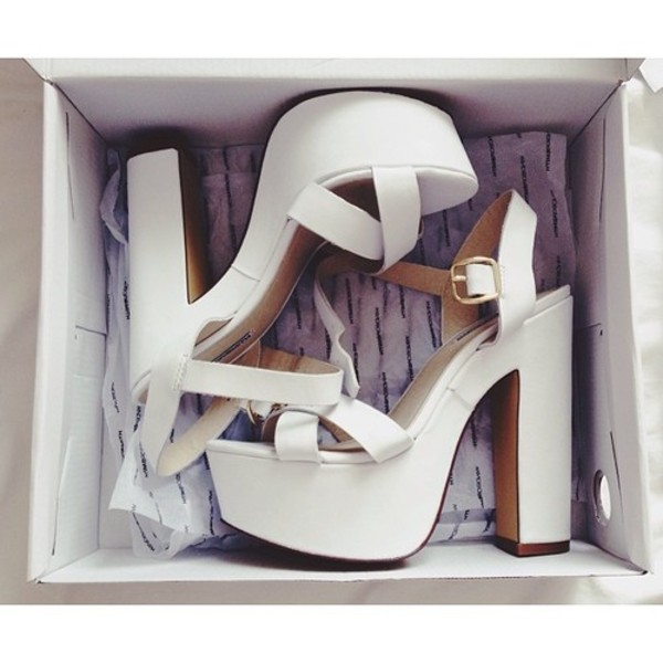 shoes white heels chunky
