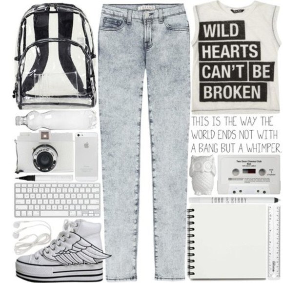t-shirt wild bag shoes hearts can't be broken