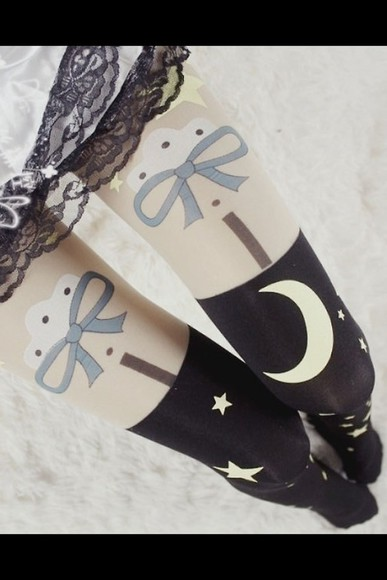 tights black white kawaii black and white moon moons and stars style