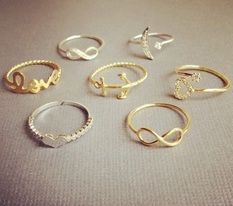 jewels ring silver gold infinity birds moon love heart anchor diamonds