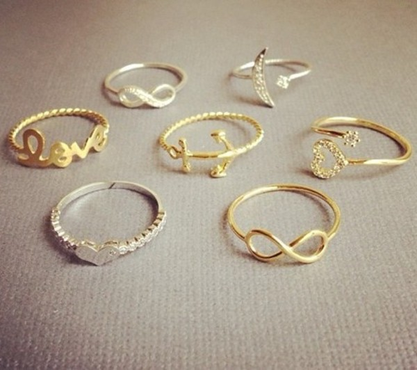 jewels ring silver ring gold infinity birds moon love heart anchor diamonds