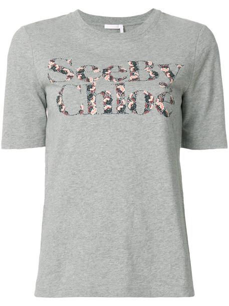 t-shirt shirt t-shirt women floral cotton print grey top