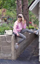 love maegan,blogger,hat,sunglasses,bag,shoes,sportswear,sneakers,fisherman cap,pink sweater