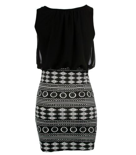 NEW LADIES WOMENS BODYCON CELEB BLACK PRINTED SKIRT PARTY DRESS 8 10 12 14 | Amazing Shoes UK