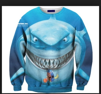 sweater nemo dory shark food crewneck disney teeth printed sweater animal face print