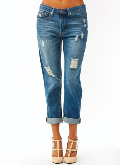 Distressed Boyfriend Jeans $48.80 in BLUE - Jeans | GoJane.com