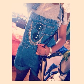 bag overalls grey blue denim forever 21 cute jewelry bracelets sunglasses 80s style retro vintage shorts jewels shirt