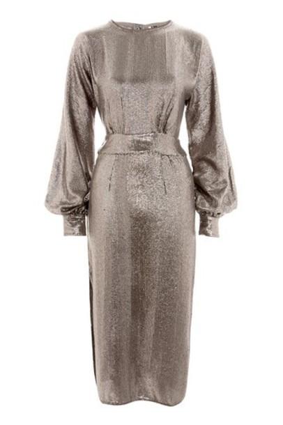 Topshop dress shift dress midi silver