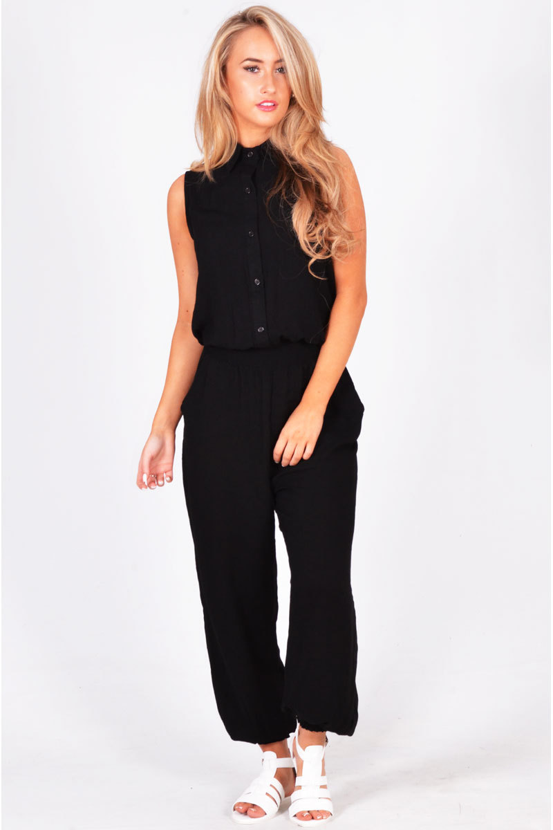 Edgar Button Up Collared Jumpsuit In Black