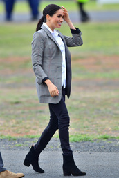 jacket,plaid,blazer,shirt,pants,boots,meghan markle,work outfits