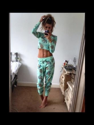 pajamas fruity teal pineapple print pyjamas. girly fitness crop tops comfy bun