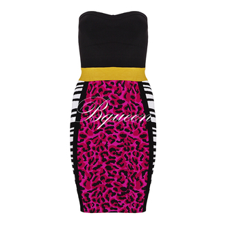dress bqueen ustrendy fashion girl lady sexy chic bandage party print animal black and pink strapless