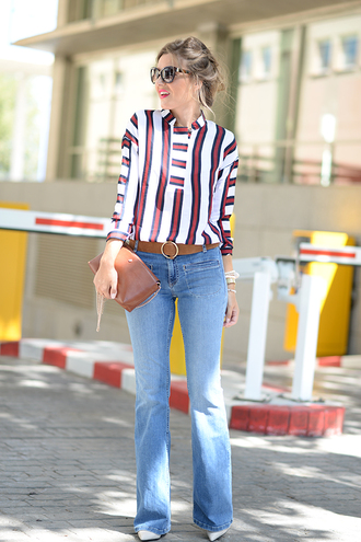 mi aventura con la moda blogger blouse jeans shoes bag belt sunglasses