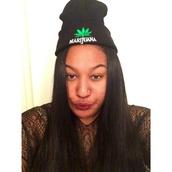hat,beanie,pot leaf,marijuana,black,black hat,summer,pretty little liars