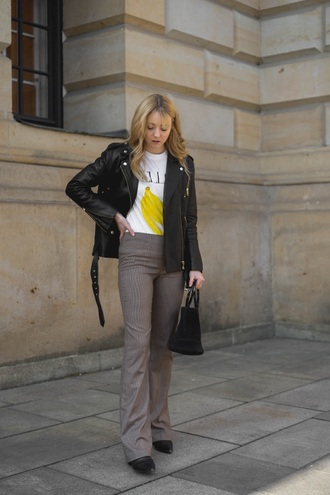 t-shirt pants jacket black leather jacket black jacket leather jacket grey pants white t-shirt bag
