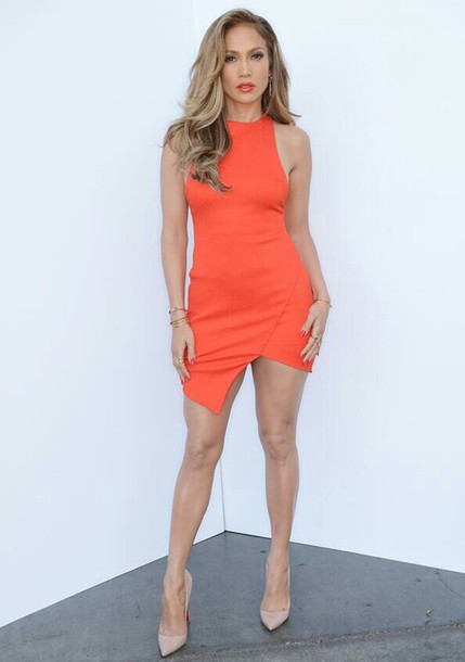dress orange summer dress midi dress orange dress jennifer lopez jennifer lopez orange lipstick orange lips summer outfits summer jennifer lopez bright coral bodycon tapered bodycon dress racerfront racer racer dress celebrity