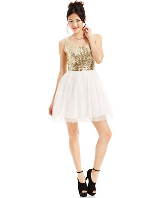 B Darlin Juniors' Sequin Tulle Skirt - Juniors Dresses - Macy's