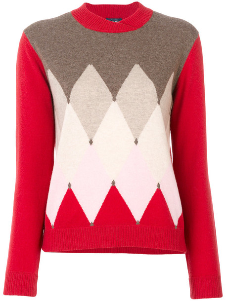 Ballantyne - triangular knit sweater - women - Cashmere - 40, Red, Cashmere