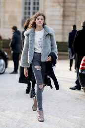 t-shirt,feminist,feminist tshirt,equality,quote on it,white t-shirt,jacket,grey jacket,grey fur jacket,fur jacket,jeans,denim,grey jeans,ripped jeans,boots,ankle boots,grey boots,fashion week,fashion week 2017,streetstyle,shirt