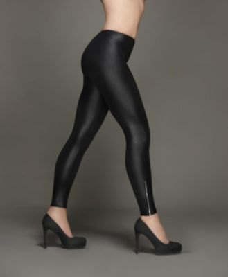 Women's faux leather leggings with ankle zipper