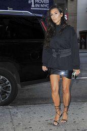 skirt,latex,sweatshirt,sweater,kim kardashian,kardashians,all black everything,sandals,belt,mini skirt