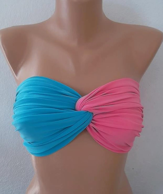 Blue pink spandex twisted swimsuit bandeau by CarnavalBoutique