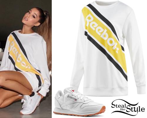atesorar como una mercancía rara obtener nueva encontrar el precio más bajo Ariana Grande: Reebok Sweatshirt, White Sneakers | Steal Her Style