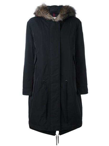 moncler coat fur fox women cotton black