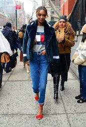 shoes,top,sandals,streetstyle,jourdan dunn,model,fashion week 2016,NY Fashion Week 2016,denim