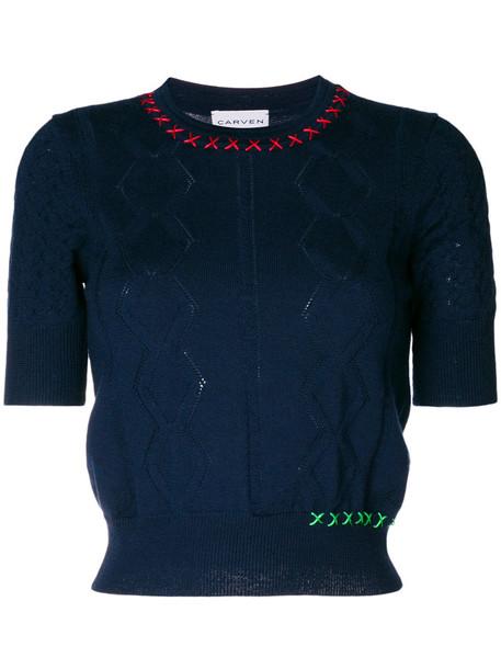 Carven top women blue knit