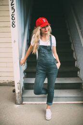 hat,white shirt,denim overalls,white sneakers,red cap,blogger