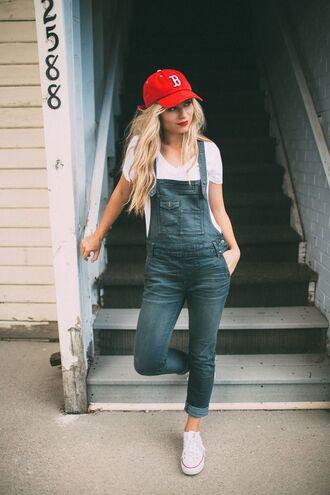 hat white shirt denim overalls white sneakers red cap blogger