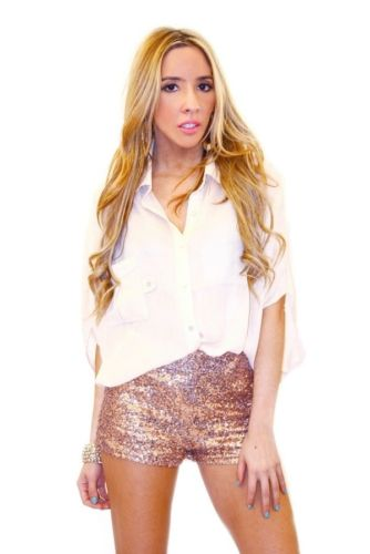 Rose Gold Sequin Shorts Large | eBay