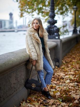 coat tumblr faux fur coat camel camel coat oversized oversized coat denim jeans blue jeans boots black boots bag black bag