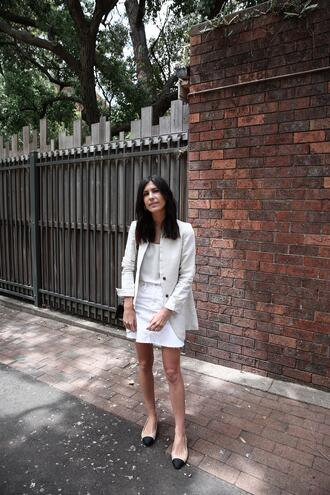 mademoiselle blogger tank top skirt jacket shoes bag jewels camisole blazer ballet flats spring outfits