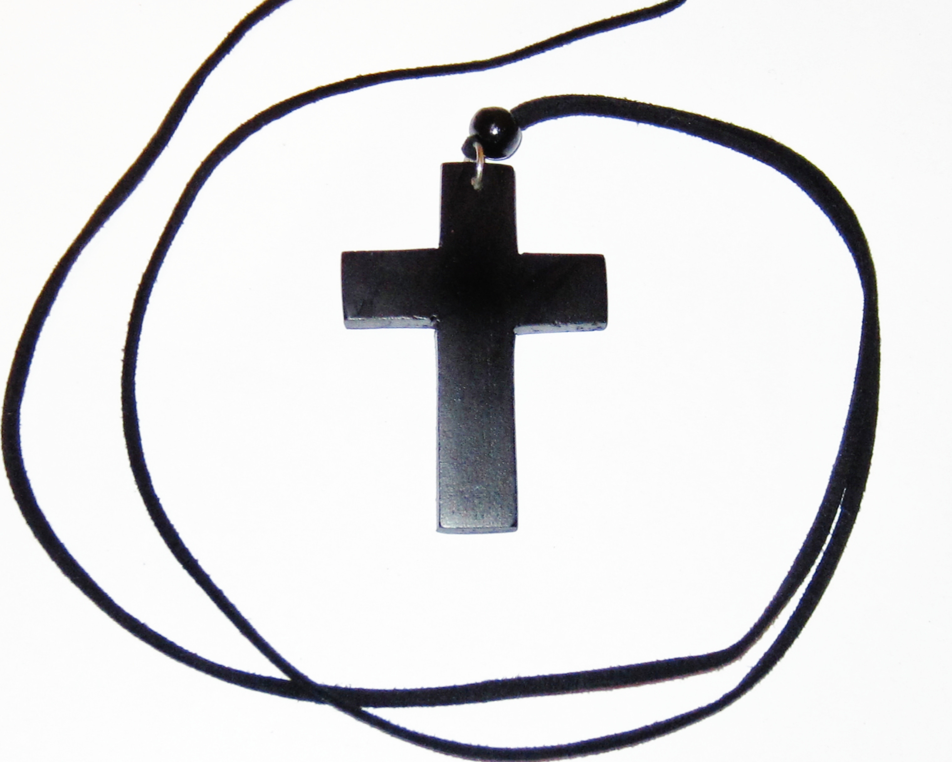 Large wooden cross with long black leather necklace black wood new men women