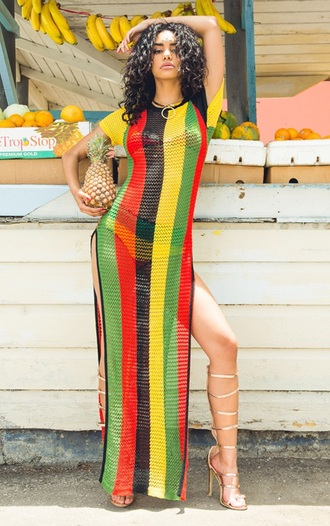 dress jamaican color side split side split maxi dress side split dress knit beach dress rihanna rihanna style